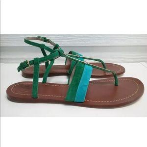 Super cute! Tory Burch Suede Logo Bar Thong Sandal